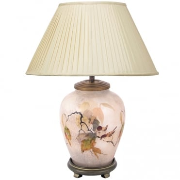 CHINESE Bird Small Table Lamp with Silk Knife Pleat Balloon Lined Almond Shade 30cm