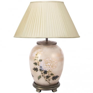 Chrysamthemum Medium Oval Table Lamp with 40cm Almond Silk Shade
