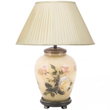 CLASSIC Rose Small Table Lamp with Silk Knife Pleat Balloon Lined Almond Shade 30cm