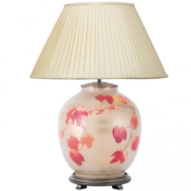 COLLINGRIDGE Vine Large Round Table Lamp with Silk Knife Pleat Balloon Lined Almond Shade 50cm