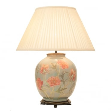 CORAL Peony Large Round Table Lamp with Silk Knife Pleat Balloon Lined Almond Shade 50cm