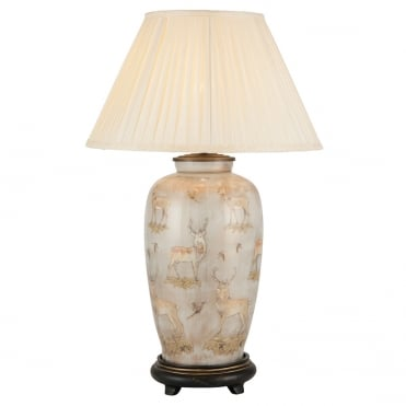 DEER Design on Tall Urn Table Lamp with Silk Knife Pleat Balloon Lined Almond Shade 50cm