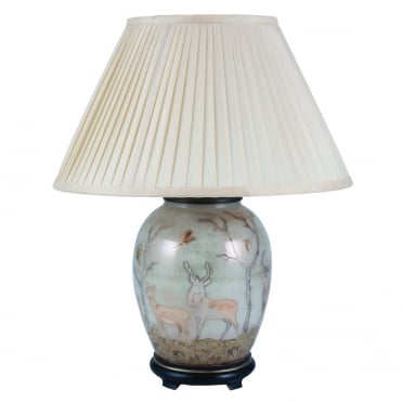 DEER Gold Medium Oval Table Lamp with Silk Knife Pleat Balloon Lined Almond Shade 40cm