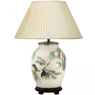 FIGS & Plums Medium Oval Table Lamp with Silk Knife Pleat Balloon Lined Almond Shade 40cm