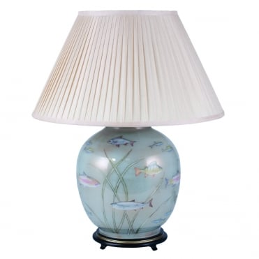 FISH Dist Gold and Light Blue Large Round Table Lamp with Silk Knife Pleat Balloon Lined Almond Shade 50cm