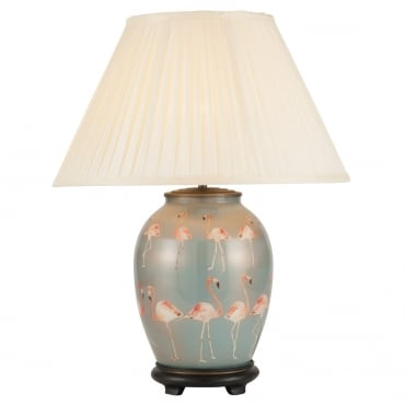 FLAMINGOS Medium Oval Table Lamp with Silk Knife Pleat Balloon Lined Almond Shade 40cm