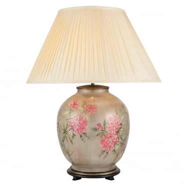 FLOWERS On Large Round Table Lamp with Silk Knife Pleat Balloon Lined Almond Shade 50cm