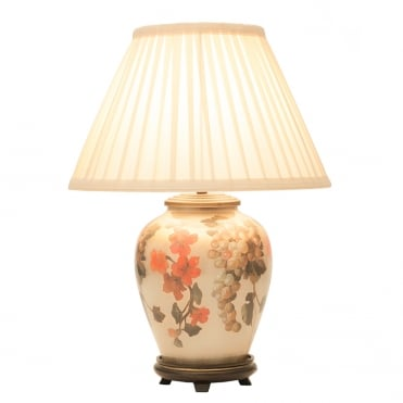 FRUIT & Flower Small Table Lamp with Silk Knife Pleat Balloon Lined Almond Shade 30cm