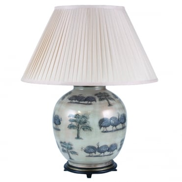 GUINEA FOWL Large Round Table Lamp with Silk Knife Pleat Balloon Lined Almond Shade 50cm