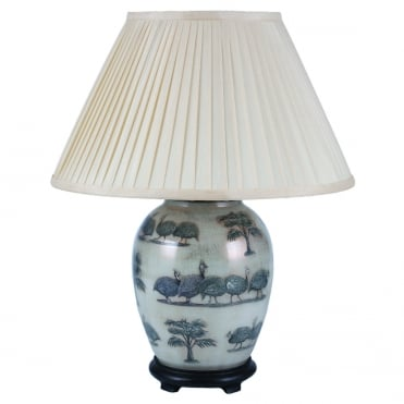 GUINEA FOWL Medium Oval Table Lamp with Silk Knife Pleat Balloon Lined Almond Shade 40cm