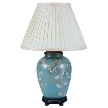 HONEYSUCKLE Dist Gold and Blue Small Oval Table Lamp with Silk Knife Pleat Balloon Lined Almond Shade 30cm