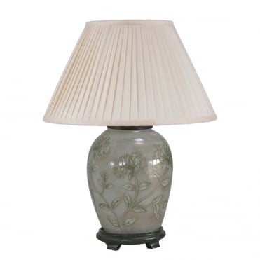 HONEYSUCKLE Dist Gold and White Medium Oval Table Lamp with Silk Knife Pleat Balloon Lined Almond Shade 30cm