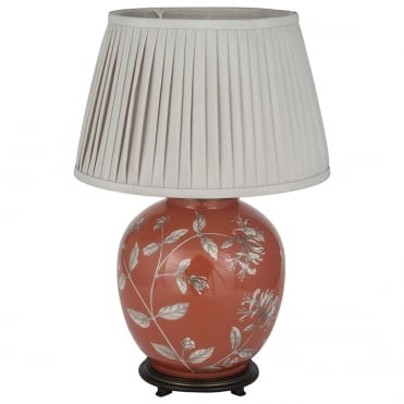HONEYSUCKLE Large Round Table Lamp with 40cm Taupe Poly Cotton Knife Pleat Shade