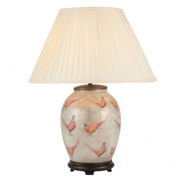 PHEASANT Medium Oval Table Lamp with Silk Knife Pleat Balloon Lined Almond Shade 40cm