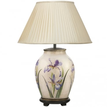 PURPLE Iris Medium Oval Table Lamp with Silk Knife Pleat Balloon Lined Almond Shade 40cm