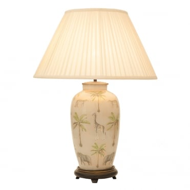 SAFARI Large Urn Table Lamp with Silk Knife Pleat Balloon Lined Almond Shade 50cm