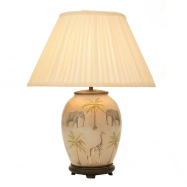 SAFARI Medium Oval Table Lamp with Silk Knife Pleat Balloon Lined Almond Shade 40cm