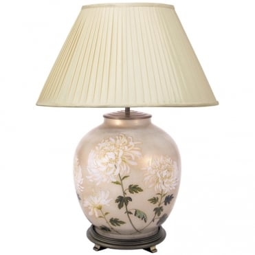 WHITE Chrysanthemum Large Round Table Lamp with Silk Knife Pleat Balloon Lined Almond Shade 50cm