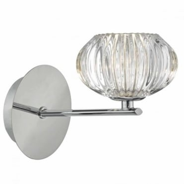 JENSINE - Wall Light Chrome Faceted Glass , Switched