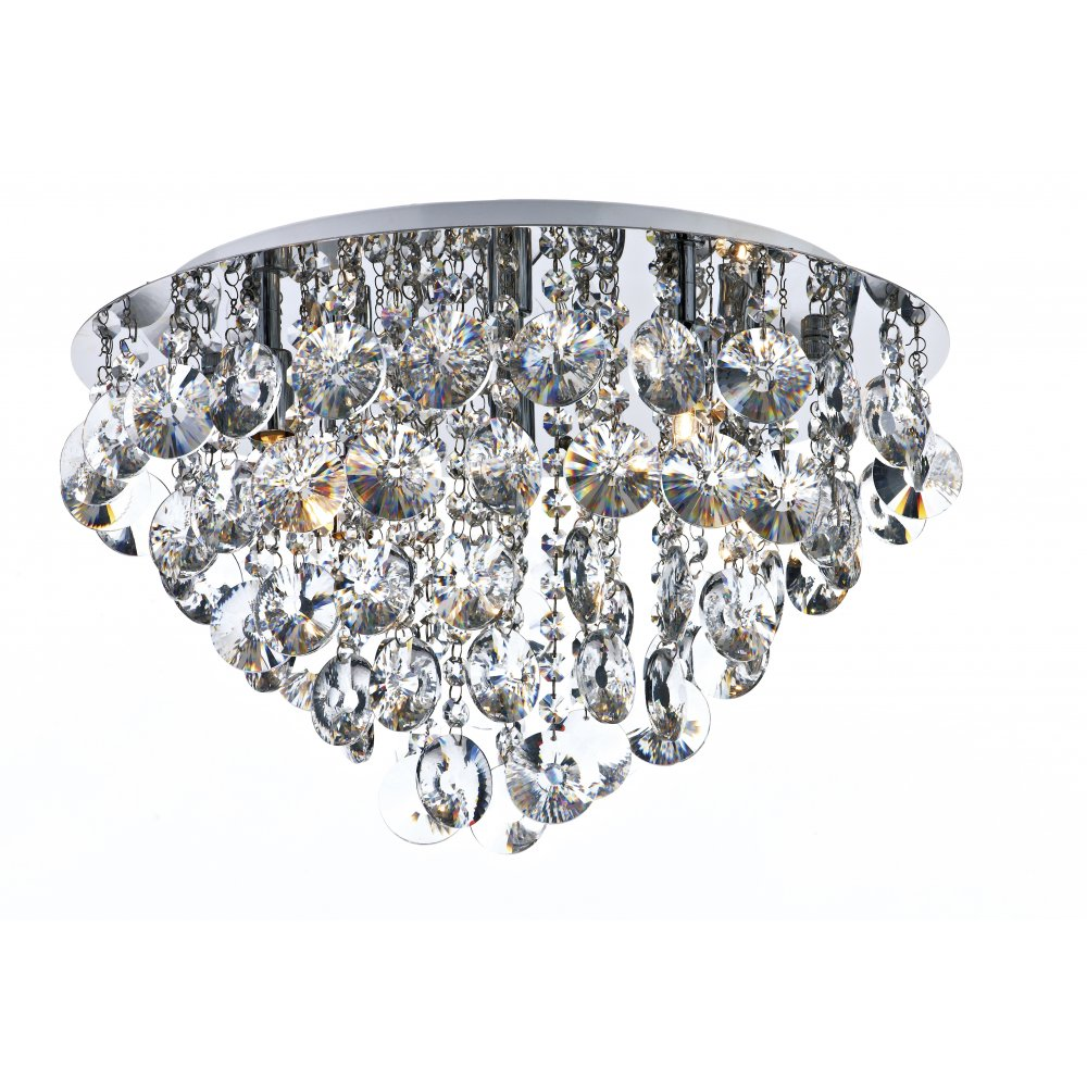 Decorative flush ceiling light in chrome with clear crystal glass jester flush fitting circular ceiling light with crystal drops aloadofball Image collections
