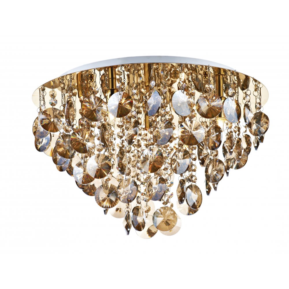 decorative flush fit ceiling light in gold with amber glass droplets
