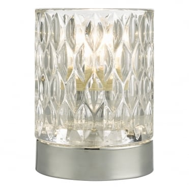 JILL Touch Table Lamp Polished Chrome with Textured Leaf Pattern Glass Shade