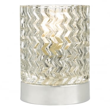 JILL Touch Table Lamp Polished Chrome with Textured Zig-Zag Glass Shade