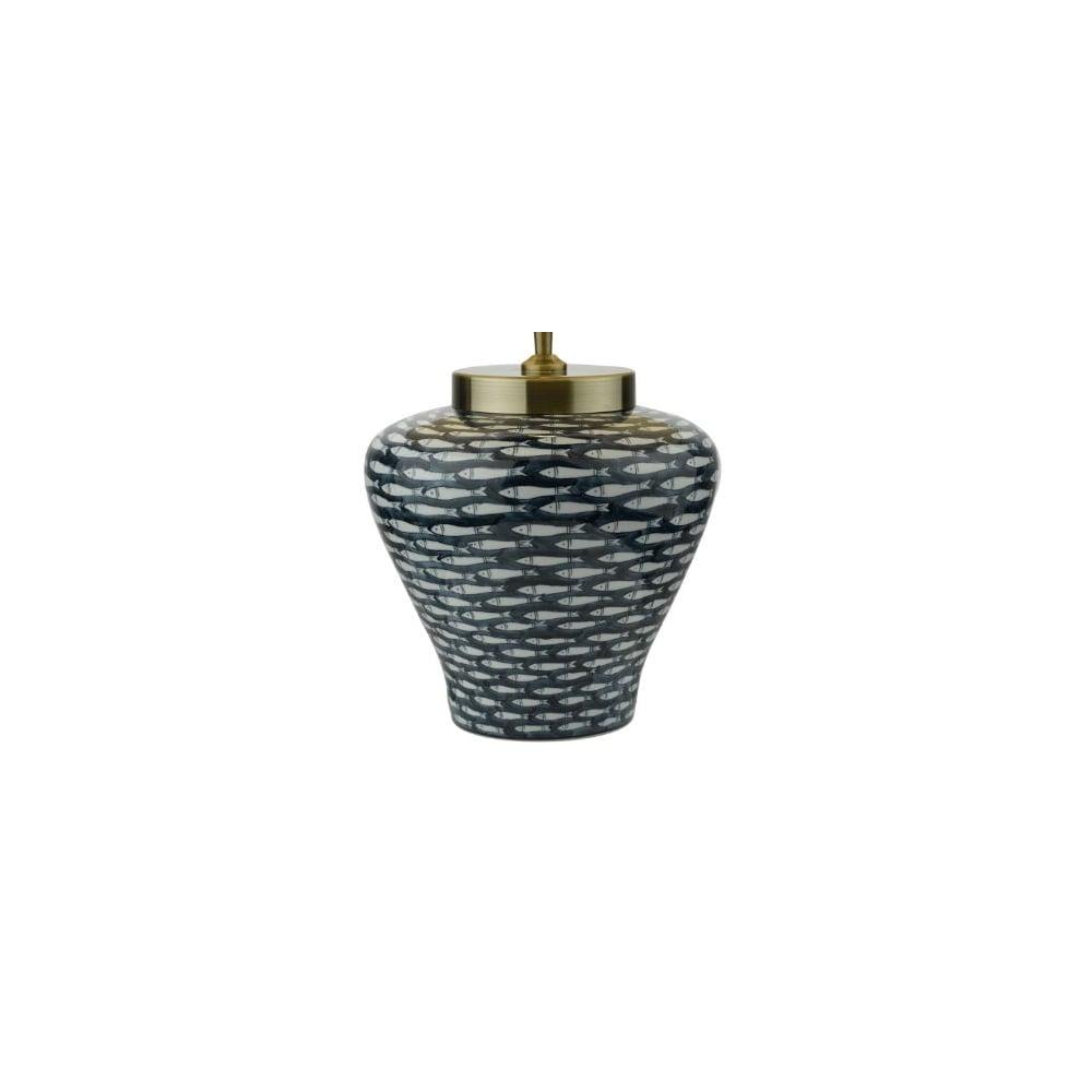 6d0c0a29891c Chinese Ceramic Lamp Dark Blue Cream Fish - Lighting and Lights UK