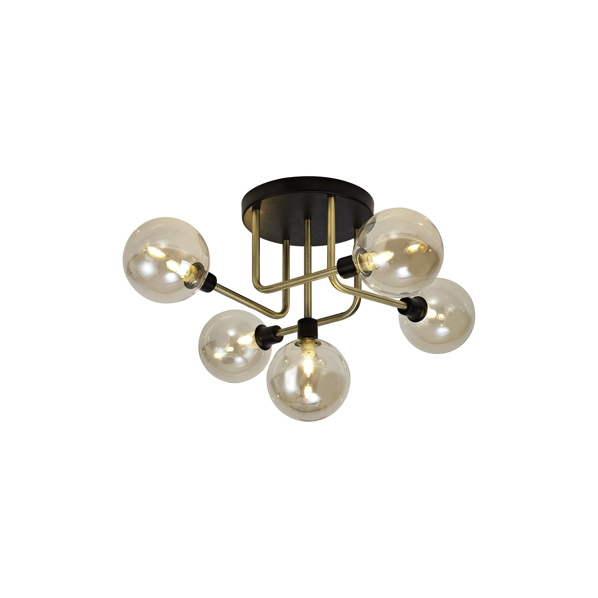 5 Light Flush Ceiling Light Matt Black Brass Champagne Globe Shades