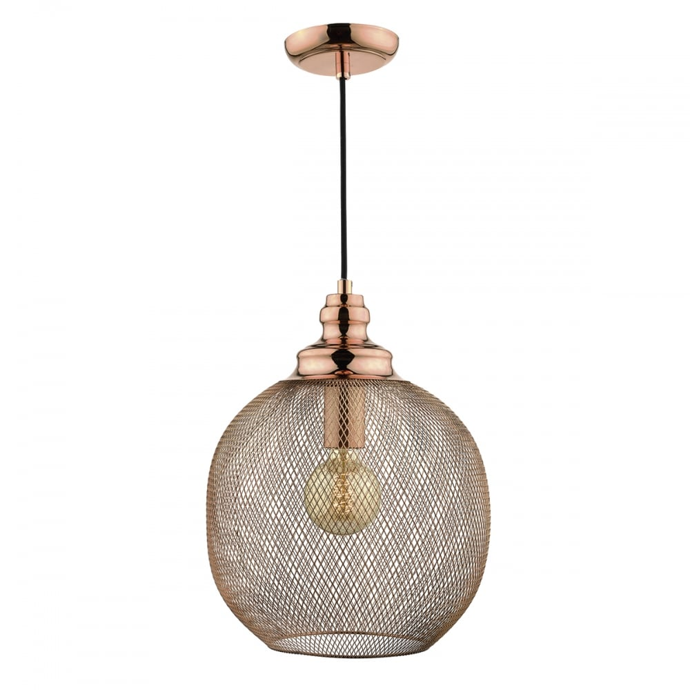 Copper wire mesh cage pendant lighting and lights uk keaton 1 light ceiling pendant copper copper aloadofball Image collections