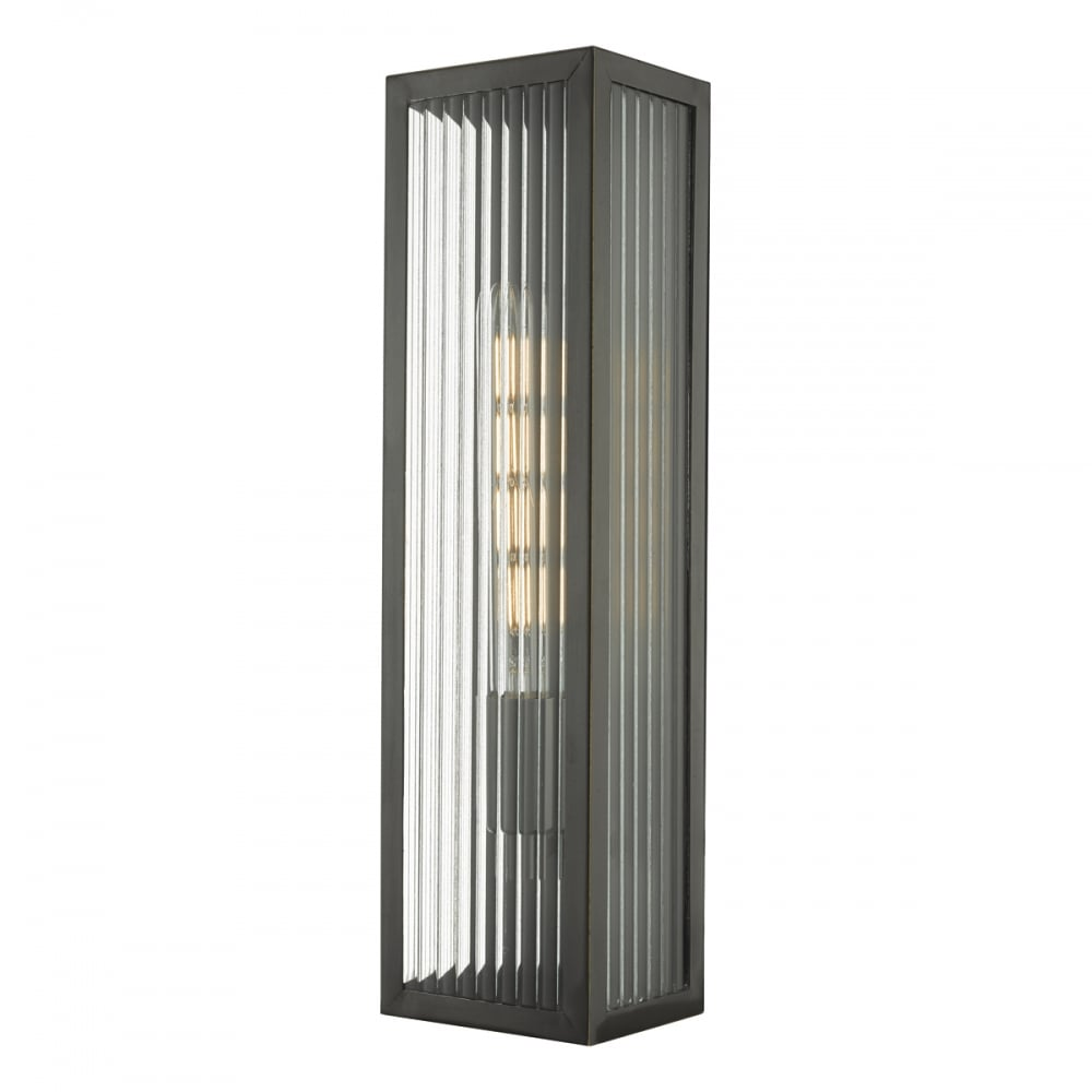 Exterior wall light rubbed brass ribbed glass lighting and lights uk keegan exterior wall light in rubbed brass and ribbed glass in clear brass ip44 aloadofball Images