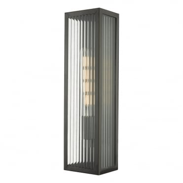 KEEGAN Exterior Wall Light in Rubbed Brass and Ribbed Glass in Clear, Brass IP44