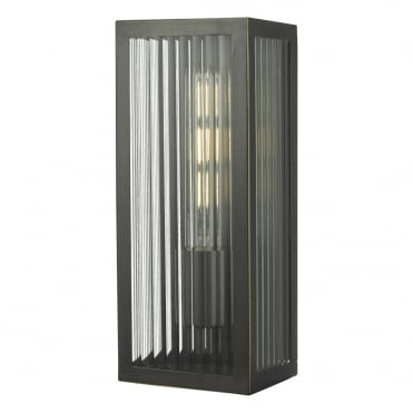 KEEGAN Exterior Wall Light in Rubbed Brass and Ribbed Glass in Clear, Brass IP44 Rated
