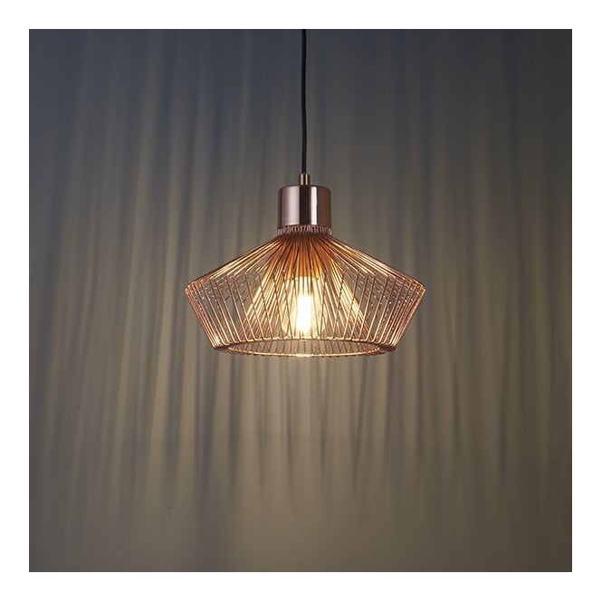 KIMBERLEY Copper Cage Wood Trim Ceiling Pendant
