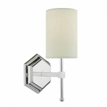 KLEMENS - Chrome Wall Light with Cream Shade