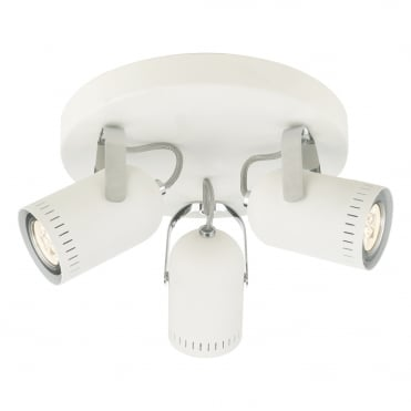 KORT 3 Light Round Plate White Polished Chrome GU10 LED Included