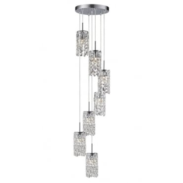LAGON - Luxurious 7 Light LED Ceiling Pendant Cluster Cascading Spiral - Bulbs Included