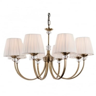 LANGHAM 8 Light Fitting, Antique Brass with Pleated Cream Shades