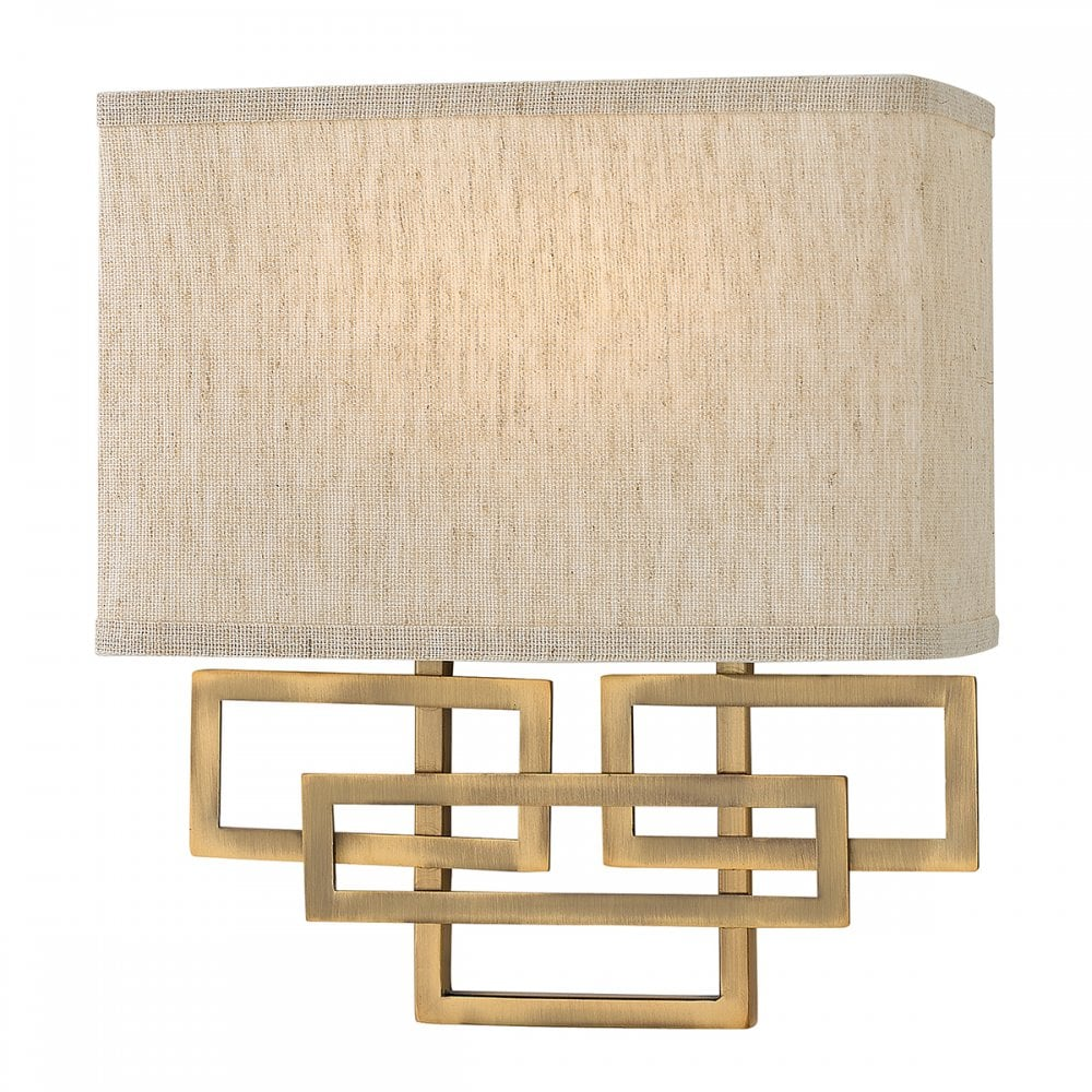 Deco Wall Light Brushed Bronze Rectangle Linen Shade Lighting And Lights