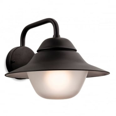 LARS Wall Light, Black with Frosted Glass