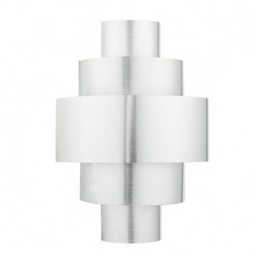 LEWIS - Art Deco Inspired Tiered Wall Light In Brushed Aluminium , Switched