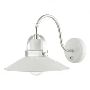 LIDEN 1 Light Wall Bracket White Polished Chrome , Switched
