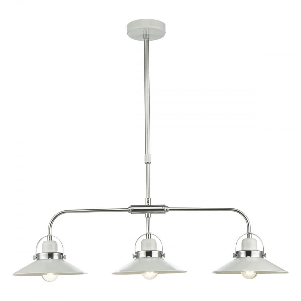 Dar Lighting Dynamo 3 Light Kitchen Island Pendant: LIDEN 3 Light Modern Industrial Ceiling Pendant White