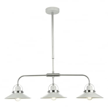 LIDEN 3 Light Bar Pendant White Polished Chrome