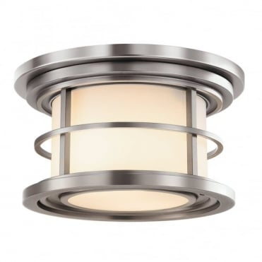 LIGHTHOUSE Outdoor Flush Light Steel and Opal Glass