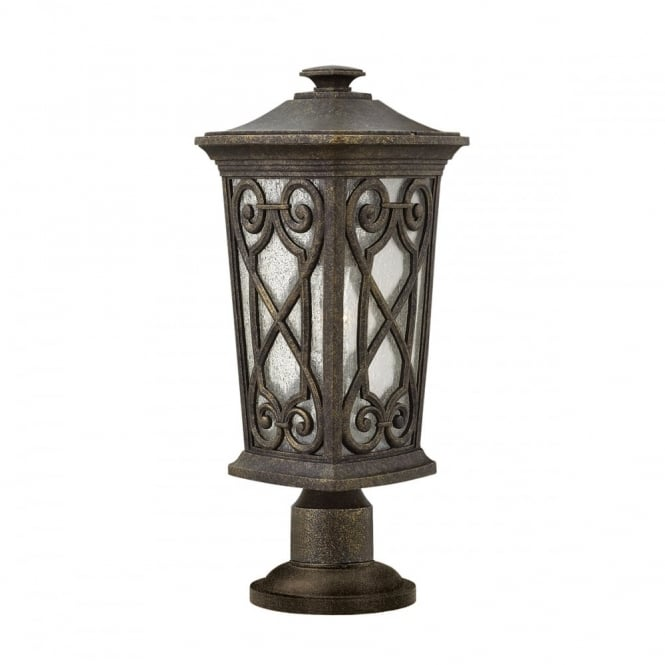 ENZO Small Exterior Pedestal Light Autumn Finish with Seeded Glass and Swirl Decoration