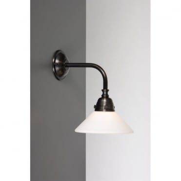 BATH CLASSIC Traditional Bathroom Wall Light in Aged Brass with Opal Glass Shade
