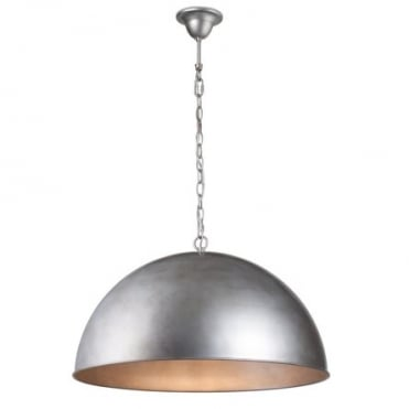 CUPULA Extra Large Dome Ceiling Pendant in Brushed Silver Finish