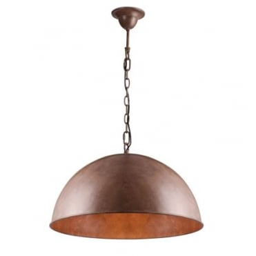CUPULA Extra Large Dome Ceiling Pendant in Warm Rust Finish