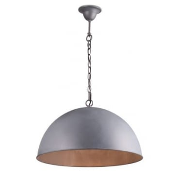 CUPULA Extra Large Dome Ceiling Pendant Lead Grey Finish